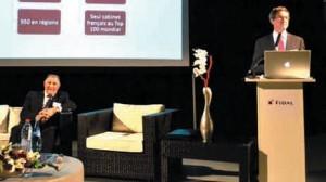 «Fidal est un cabinet d'avocats d'affaires, avant tout humain», a souligné Yves de Sevin, son directeur général (debout), aux côtés de Claude Faure, fondateur du groupe F&M