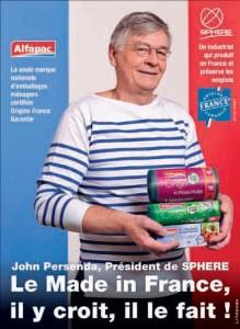 John Persenda, le président du groupe Sphere, spécialisé dans la fabrication d'emballages ménagers, notamment sur son site Schweitzer SAS à Ludres, a affiché son made in France à l'occasion d'une campagne de publicité dans la presse nationale et régionale.