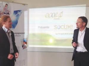 Le 17 avril dernier, David-Alexandre Lobry, consultant RSE et Philippe Lerouvillois, gérant d'Ecota Conseil ont présenté Sociae, une nouvelle application web qui accompagne les entreprises dans l'amélioration de leurs démarches RSE.