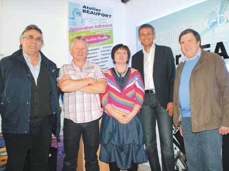Les représentants de la Chambre de métiers et d'artisanat de la Meuse et Guy Keckhut, le directeur adjoint du CNAM ont visité l'atelier Beaufort dirigé par Noël Beaufort, qui vient de recruter Nathalie Pothier via le dispositif Ardan.