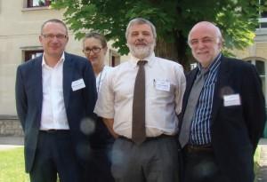 Le 13 juin dernier, Anne-Frédérique Sims-Lagadec, directrice de la Carsat Lorraine et Hubert Attenont (à gauche) ont convié les partenaires sociaux, Jean-François Naton, de la CGT et Jean- Pierre Castello du Medef à un séminaire de réflexion sur la prévention des risques au travail.