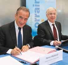 Henri Proglio, le pdg d'EDF et Jean-Pierre Masseret, le président du Conseil régional de Lorraine ont signé le 13 novembre un protocole d'accord dans le cadre du Pacte Lorraine.