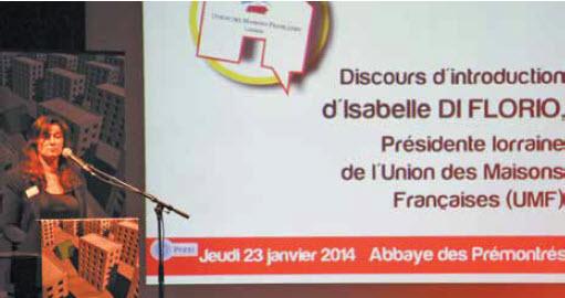 Isabelle Di Florio, présidente de l'UMF de Lorraine, interpelle les politiques et les professionnels sur l'avenir de la maison individuelle à l'occasion d'une rencontre le 23 janvier dernier à l'Abbaye des Prémontrés.