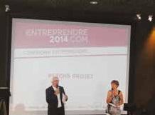 Jacky Chef et Marie-Pierre Dardaine ouvrent ensemble la cérémonie de clôture avec un petit survol historique du Concours Entreprendre.