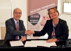 Benoît Mercier, le président du directoire de la Celca et Florence Legros, directrice générale de l'ICN Business School.