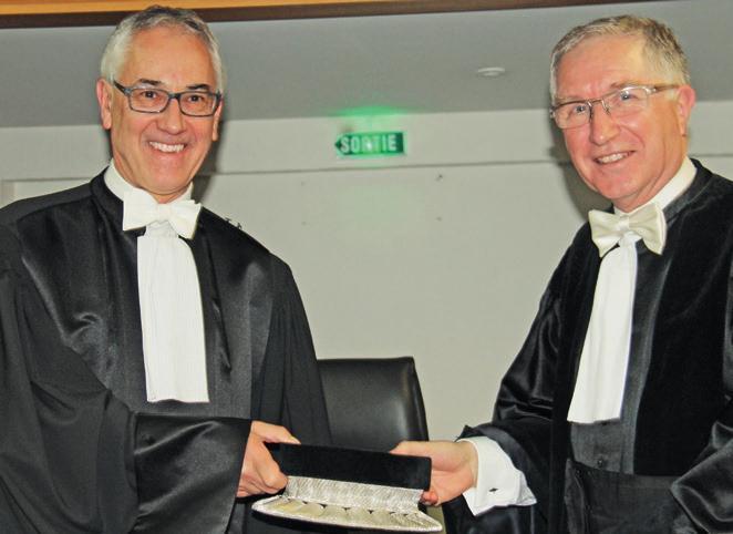 Charles Cunat (à gauche) prend le relais d'Yves Lesage à la présidence du Tribunal de commerce de Nancy.
